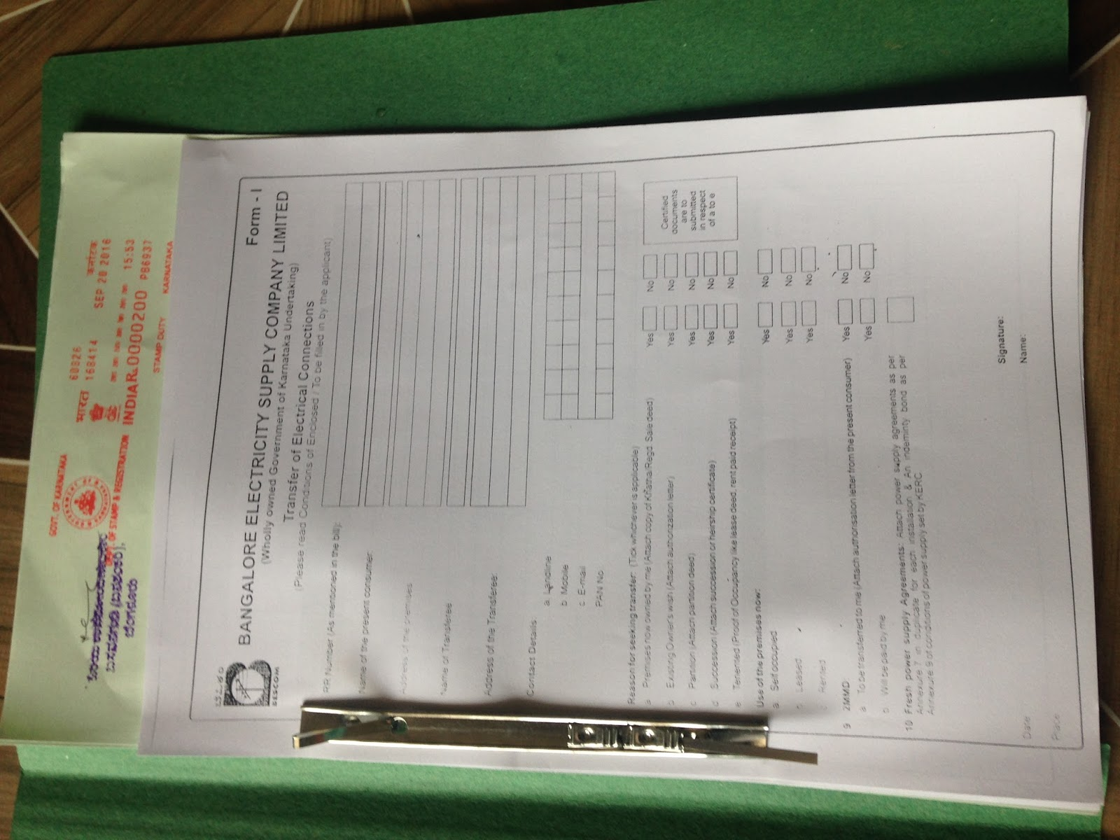 application for abolishment of electricity supply