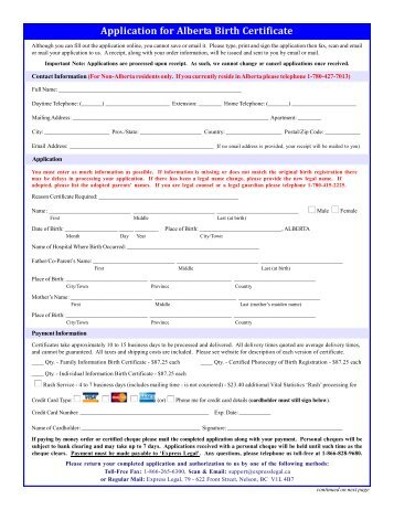 application for copy of birth certificate