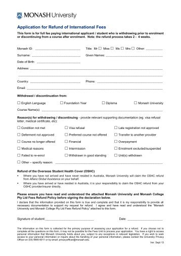 university of melbourne application fee waiver