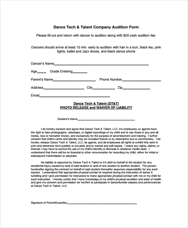 model casting call application form template
