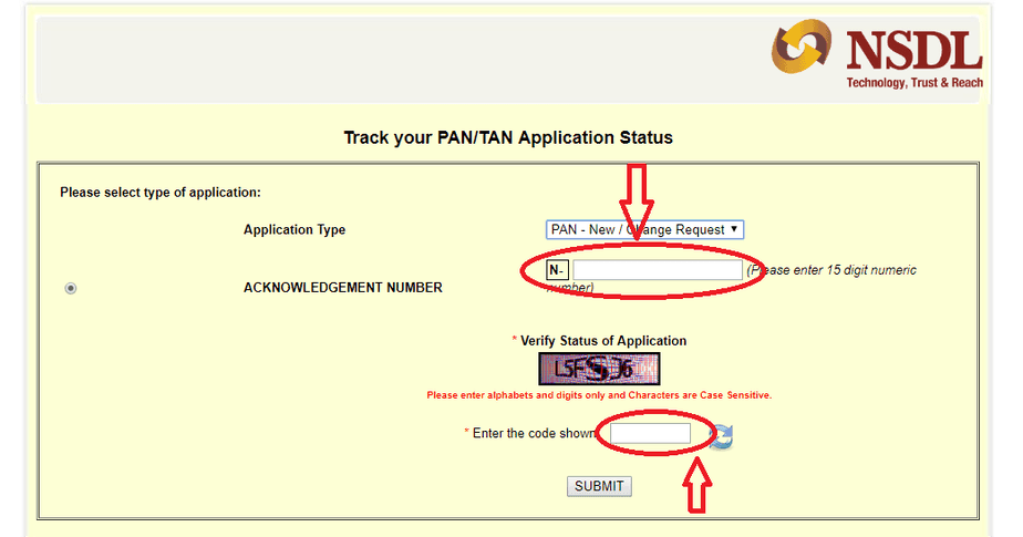 pan card status by application number