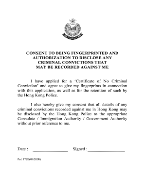 application for certificate of no criminal conviction