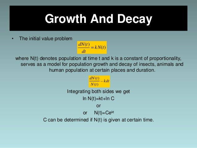 application of first order differential equation growth and decay