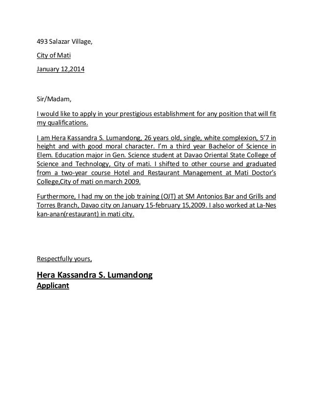 application letter for course training