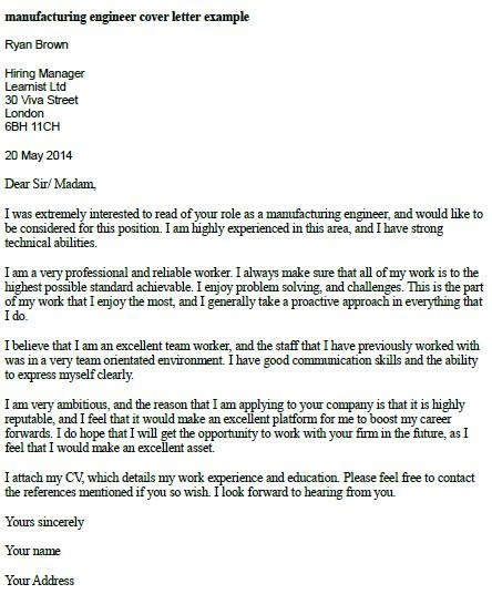 cover letter for engineering job application