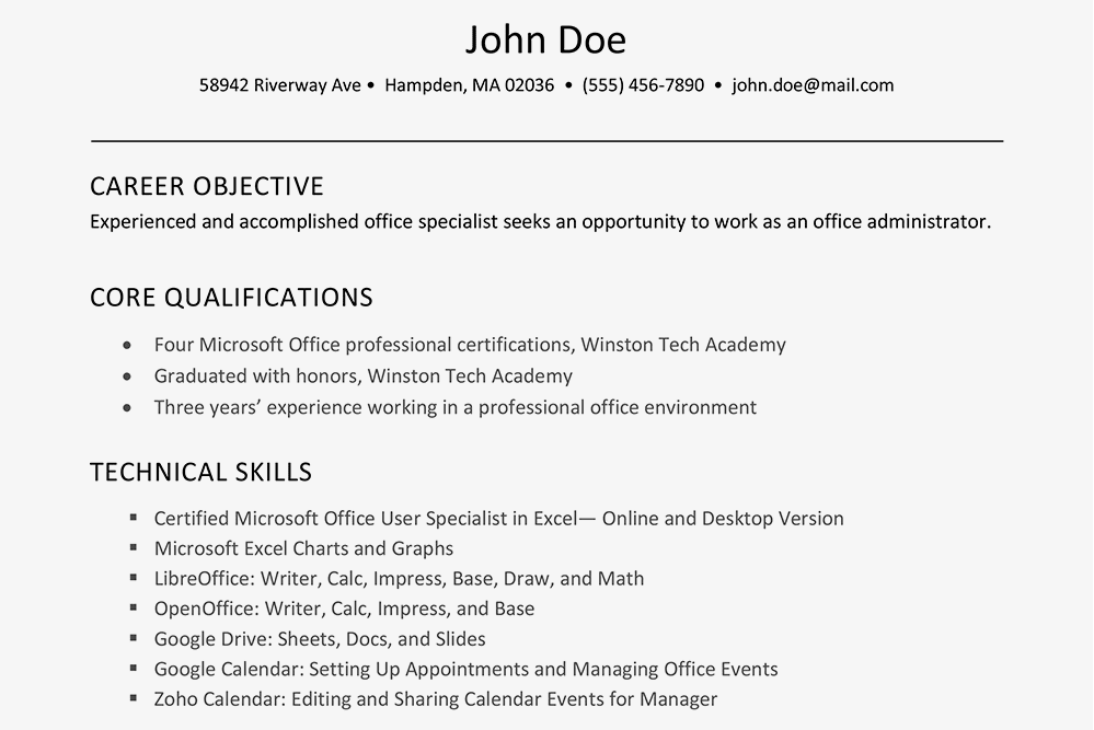 describe computer skills on a job application