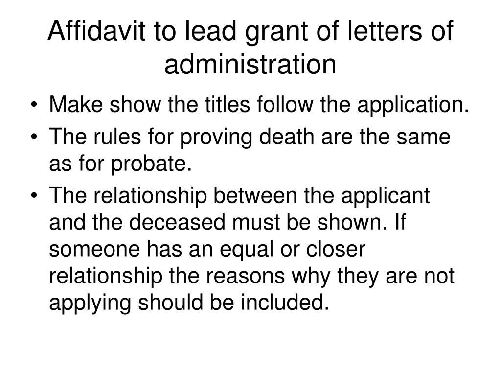 application for grant of letters of administration