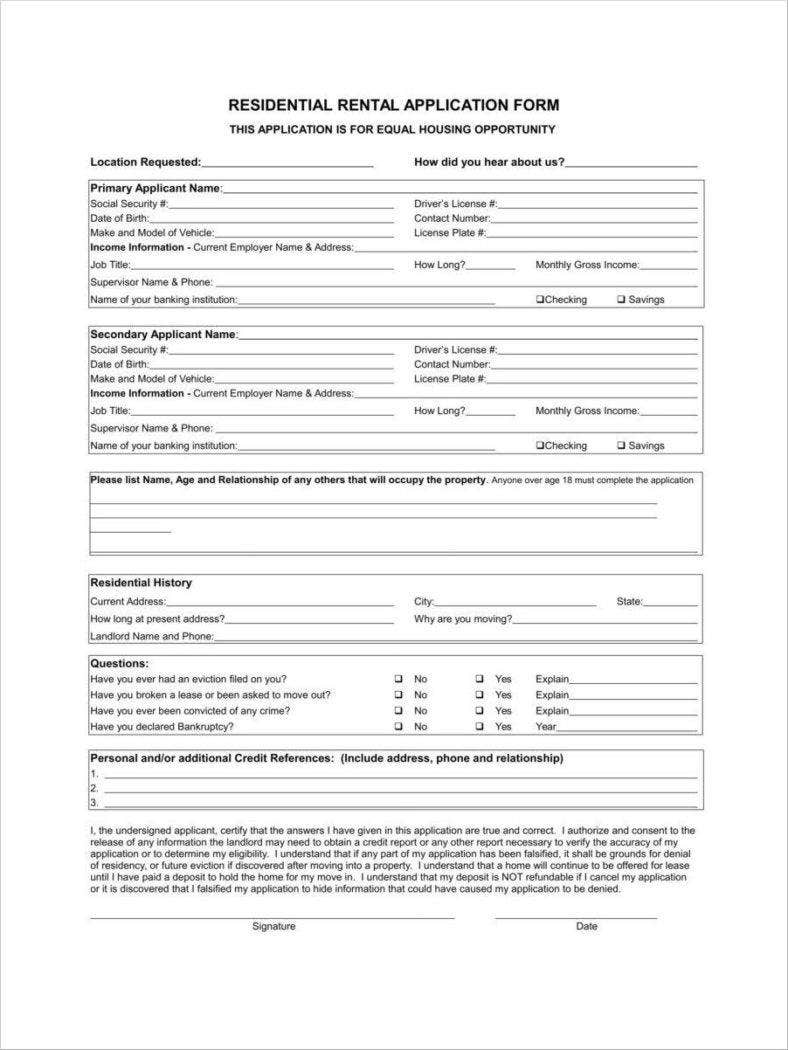 documents required for rental application