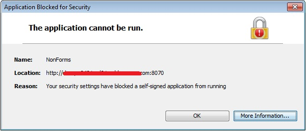 java application blocked by security settings internet explorer
