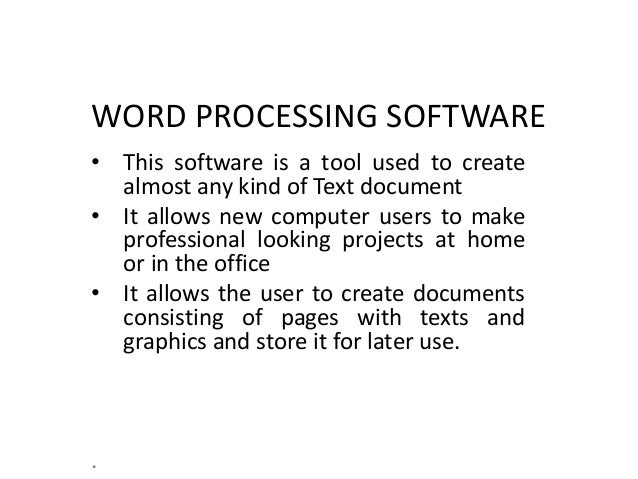 uses of word processing application