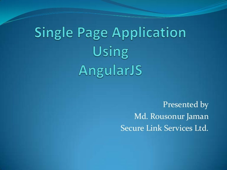 what is single page application
